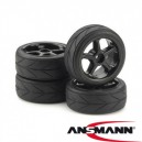 Tire & Rim Set 5 Spokes Design Profi black