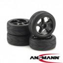 Tire & Rim Set 5 Spokes Design Profi black